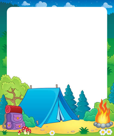campsite: Summer frame with camp site theme - eps10 vector illustration.
