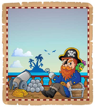 deck cannon: Parchment with pirate ship deck 7 - eps10 vector illustration. Illustration