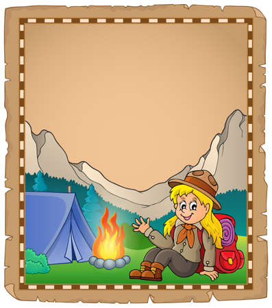 girl scout: Parchment with scout girl in mountain - eps10 vector illustration.