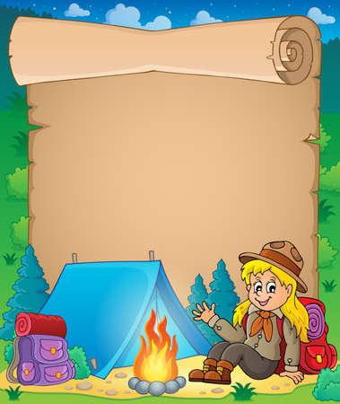 girl scout: Parchment with scout girl theme 1 - eps10 vector illustration.