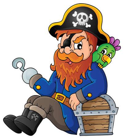 eyepatch: Sitting pirate theme image 1 - eps10 vector illustration. Illustration