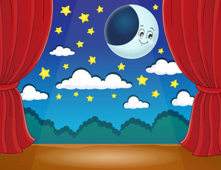 classical theater: Stage with happy moon - eps10 vector illustration. Illustration