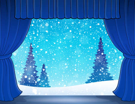 classical theater: Stage with winter theme 1 - eps10 vector illustration.