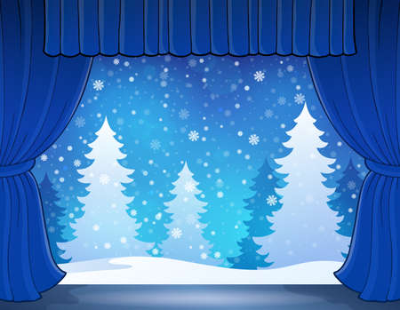 winter theater: Stage with winter theme 2 - eps10 vector illustration.