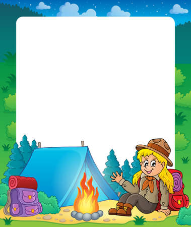 girl scout: Summer frame with scout girl theme 1 - eps10 vector illustration.
