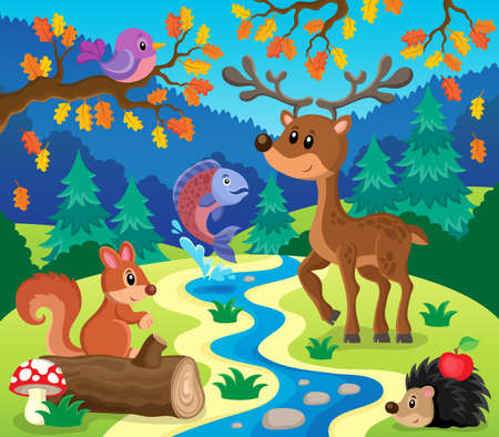 creek: Forest animals topic image 1 - eps10 vector illustration.