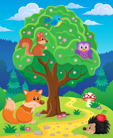 treetop: Forest animals topic image 3 - eps10 vector illustration. Illustration