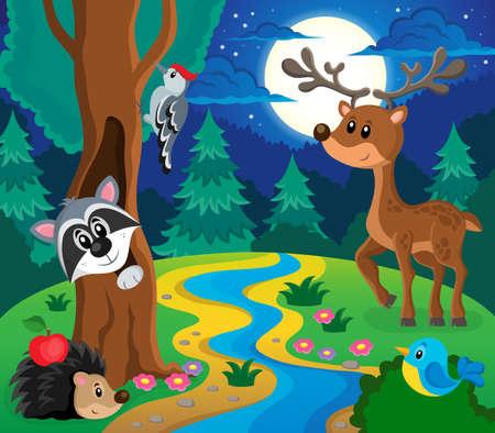 animales del bosque: Imagen Bosque tema animales 8 - ilustraci�n vectorial eps10.