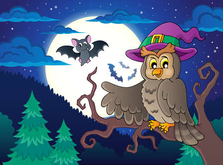 a bough: Owl topic image 2 - eps10 vector illustration.