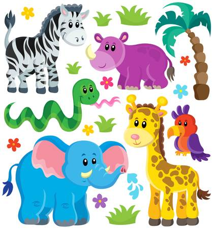 camelopard: Set of African animals 3 - eps10 vector illustration.