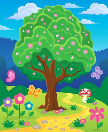 springtime: Springtime tree topic image 3 - eps10 vector illustration.