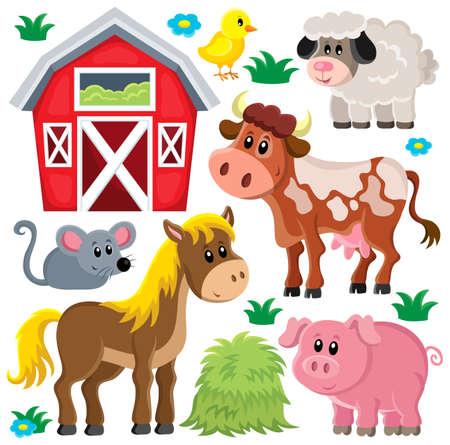 cow farm: Animali da allevamento set 2 - eps10 illustrazione vettoriale. Vettoriali
