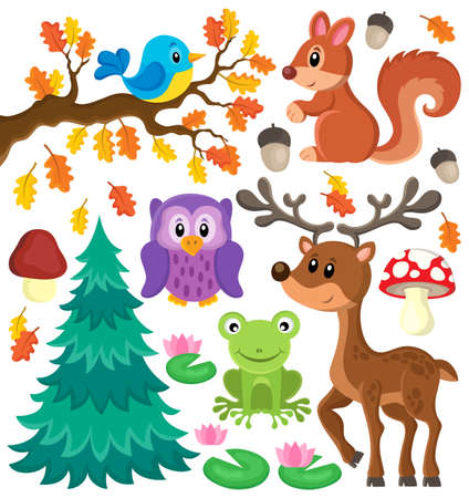 animales del bosque: Los animales del bosque tema set 1 - ilustraci�n vectorial eps10.
