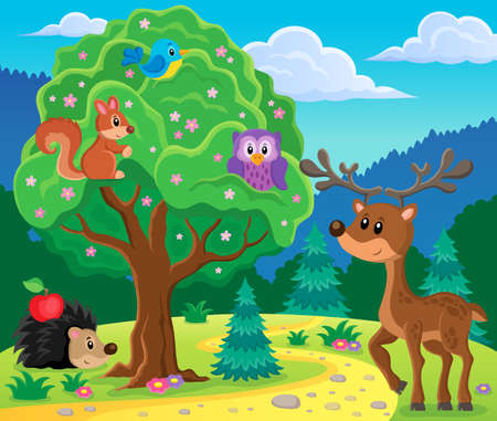 Forest animals topic image 4 - eps10 vector illustration.