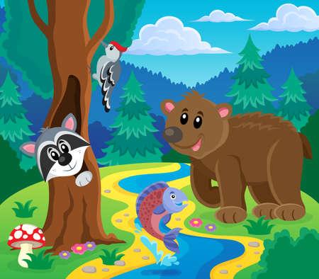 animales del bosque: Bosque tema animales imagen 5 - ilustraci�n vectorial eps10. Vectores