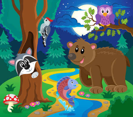 racoon: Forest animals topic image 6 - eps10 vector illustration.