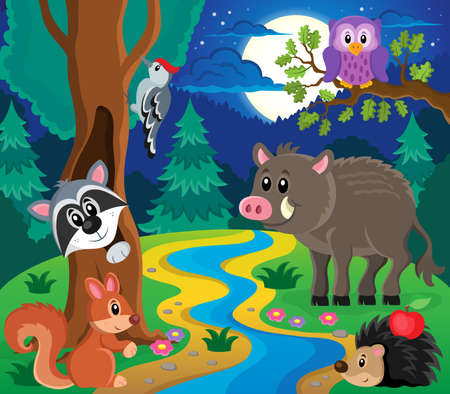 animales del bosque: Imagen Bosque tema animales 7 - ilustraci�n vectorial eps10.