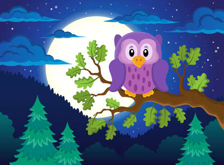 a bough: Owl topic image 1 - eps10 vector illustration.