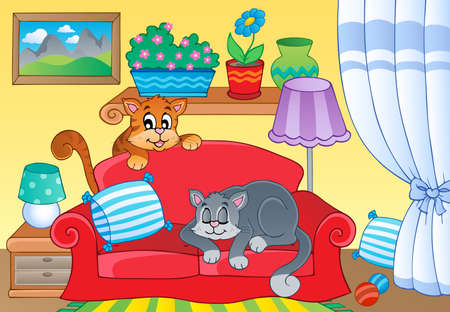 cats playing: Room with two cats on sofa - eps10 vector illustration.