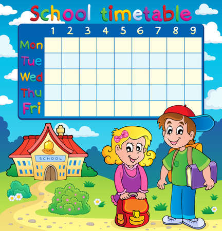 timetable: School timetable with two children - eps10 vector illustration. Illustration