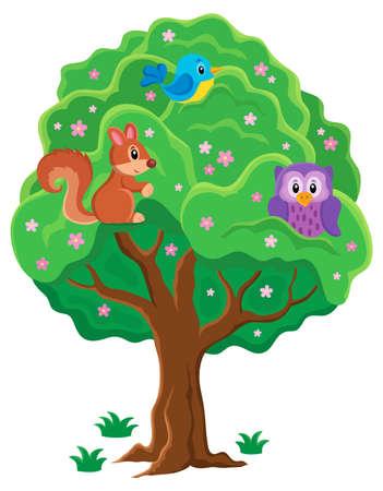 arboles frondosos: Primavera tema imagen Árbol 1 - ilustración vectorial eps10.
