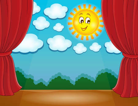 classical theater: Stage with happy sun 2 - eps10 vector illustration. Illustration