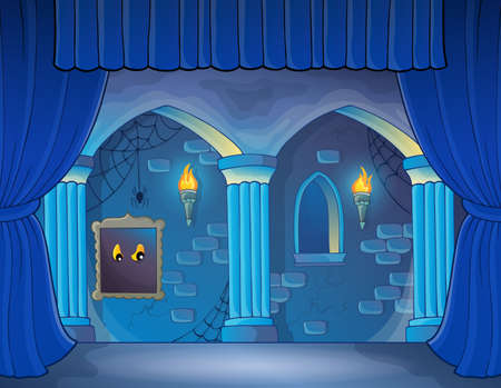 drawing room: Stage with haunted interior theme - eps10 vector illustration.