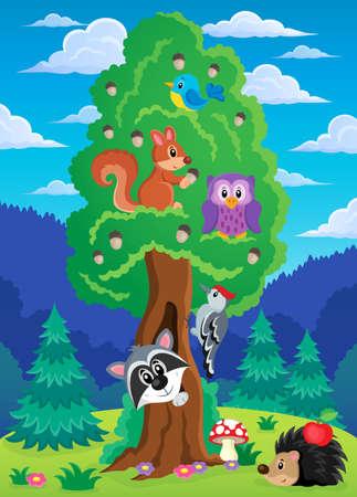 arboles frondosos: Árbol con varios animales tema 2 - ilustración vectorial eps10.