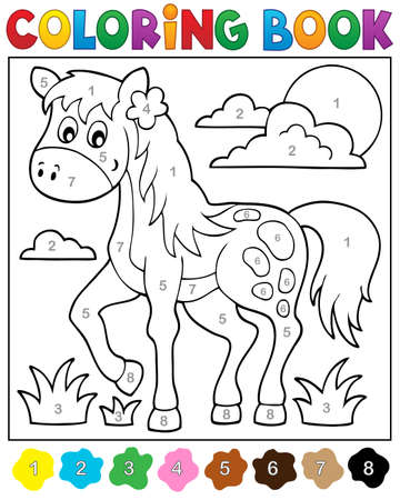 ungulate: Coloring book with horse -  vector illustration.
