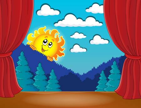 classical theater: Stage with happy sun 3 -  vector illustration.
