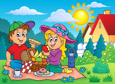 picnic blanket: Picnic theme image 2 - eps10 vector illustration. Illustration