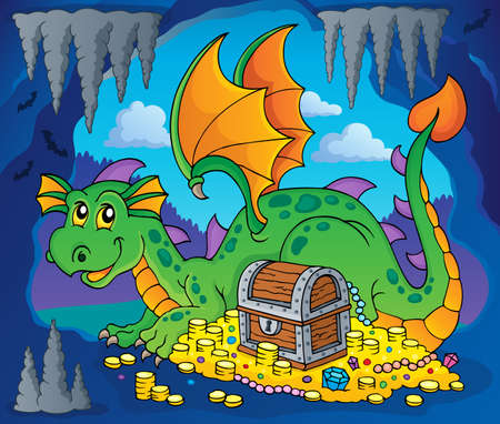 hideout: Dragon with treasure theme image 3 - eps10 vector illustration. Illustration
