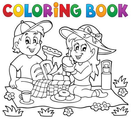 picnic blanket: Coloring book picnic theme 1 - eps10 vector illustration.