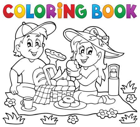 Coloring book tema picnic 1 - eps10 illustrazione vettoriale. Archivio Fotografico - 40216496