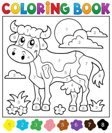 herbivorous animals: Coloring book cow theme 2 - eps10 vector illustration.