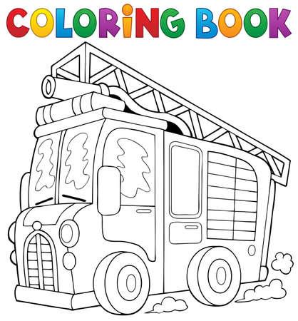 fogatas: Colorear libro fuego camión tema 1 - ilustración vectorial.