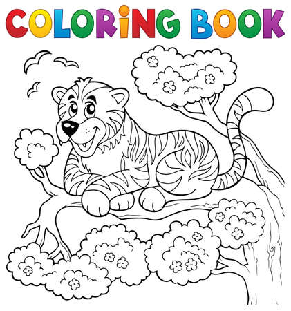 Coloring book tiger theme 1 -  vector illustration. Stock Illustratie