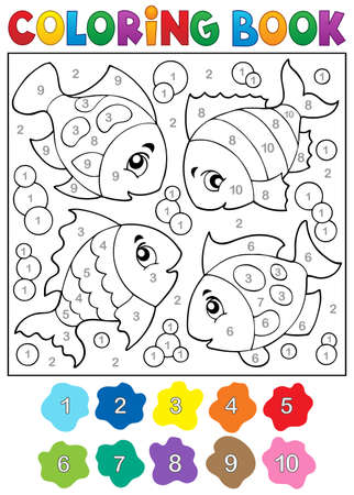eps10: Coloring book with fish theme 3 - eps10 vector illustration.
