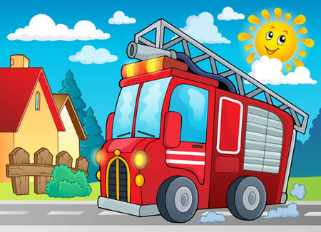 Fire truck theme image 2 - eps10 vector illustration. Çizim