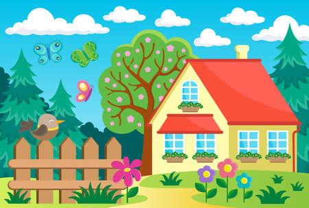 Jardin et maison thème fond 1 - eps10 illustration vectorielle.