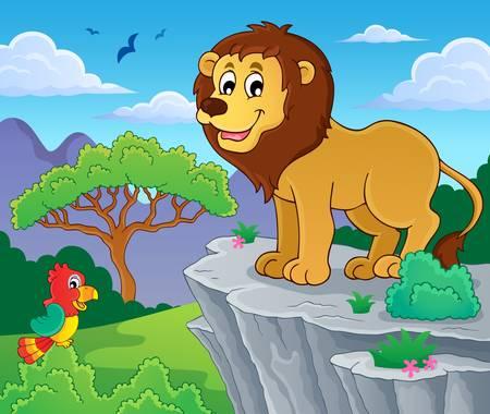 lions rock: Lion theme image 1 - eps10 vector illustration.