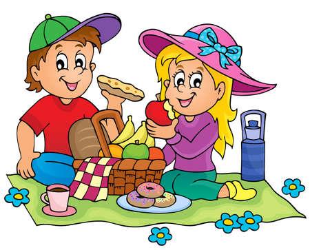 Picnic thema afbeelding 1 - vectorillustratie eps10. Stock Illustratie