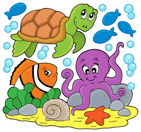 thematic: Sea animals thematic image - eps10 vector illustration.