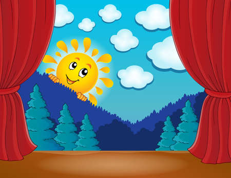classical theater: Stage with happy sun 4 -  vector illustration.