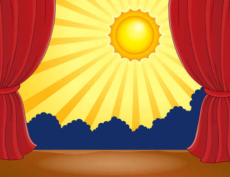 classical theater: Stage with abstract sun