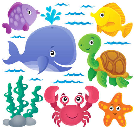 thematic: Ocean fauna thematic collection Illustration