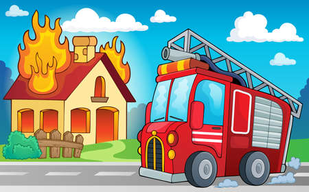 building fire: Fire truck theme image  Illustration