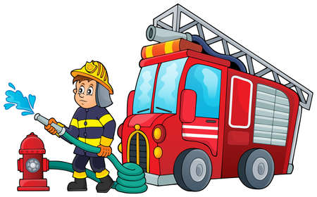 fire truck: Firefighter theme image
