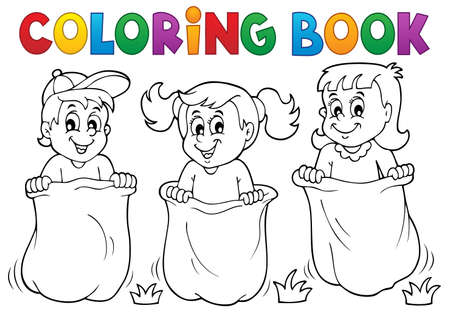Coloring book children playing theme