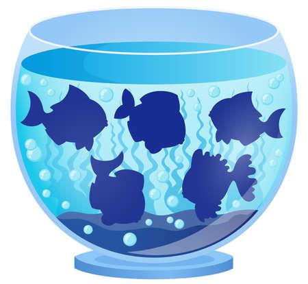 underwater fishes: Aquarium with fish silhouettes